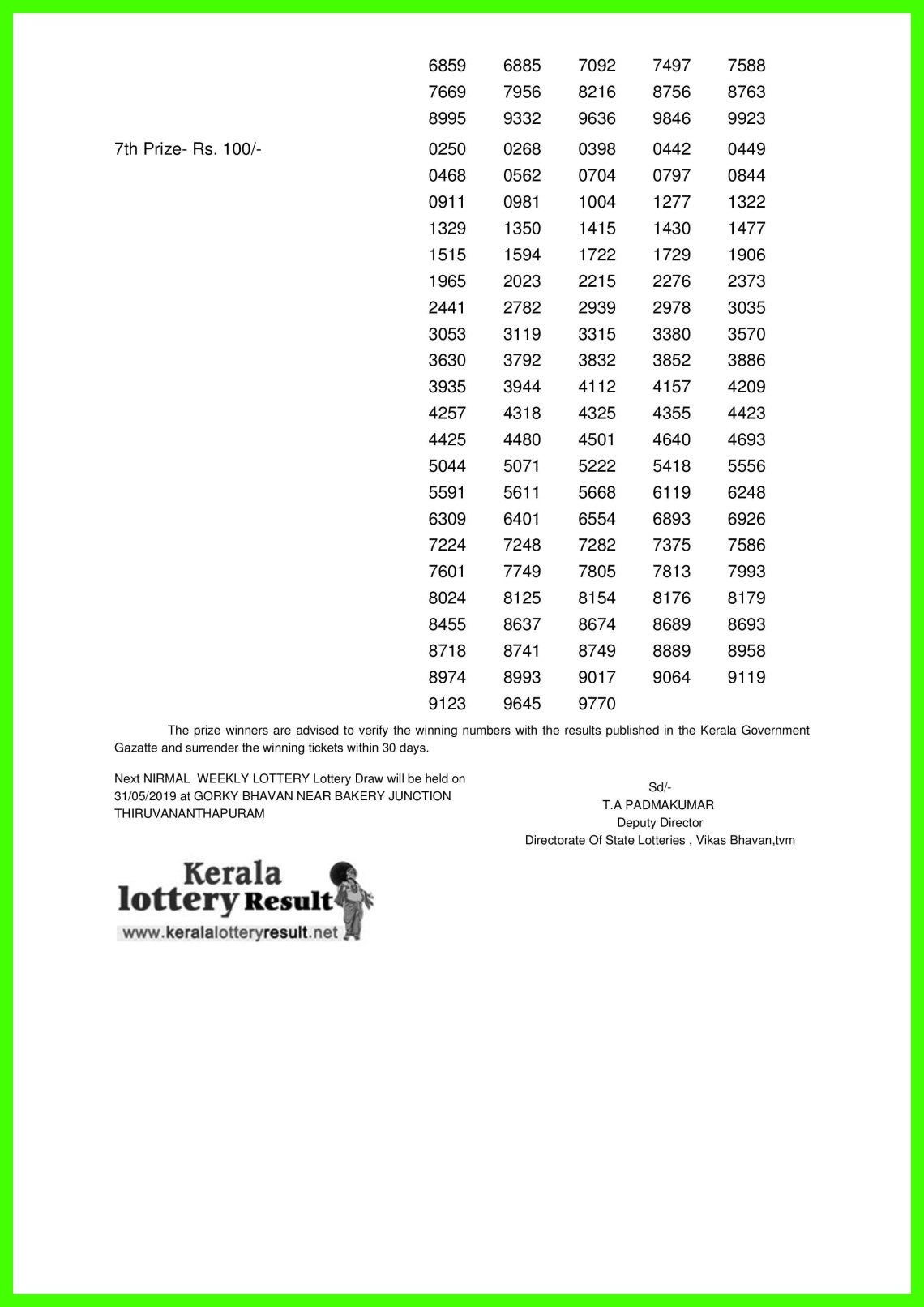 NIRMAL WEEKLY LOTTERY LOTTERY NO. NR-122nd DRAW held on 24.05.2019-page-002