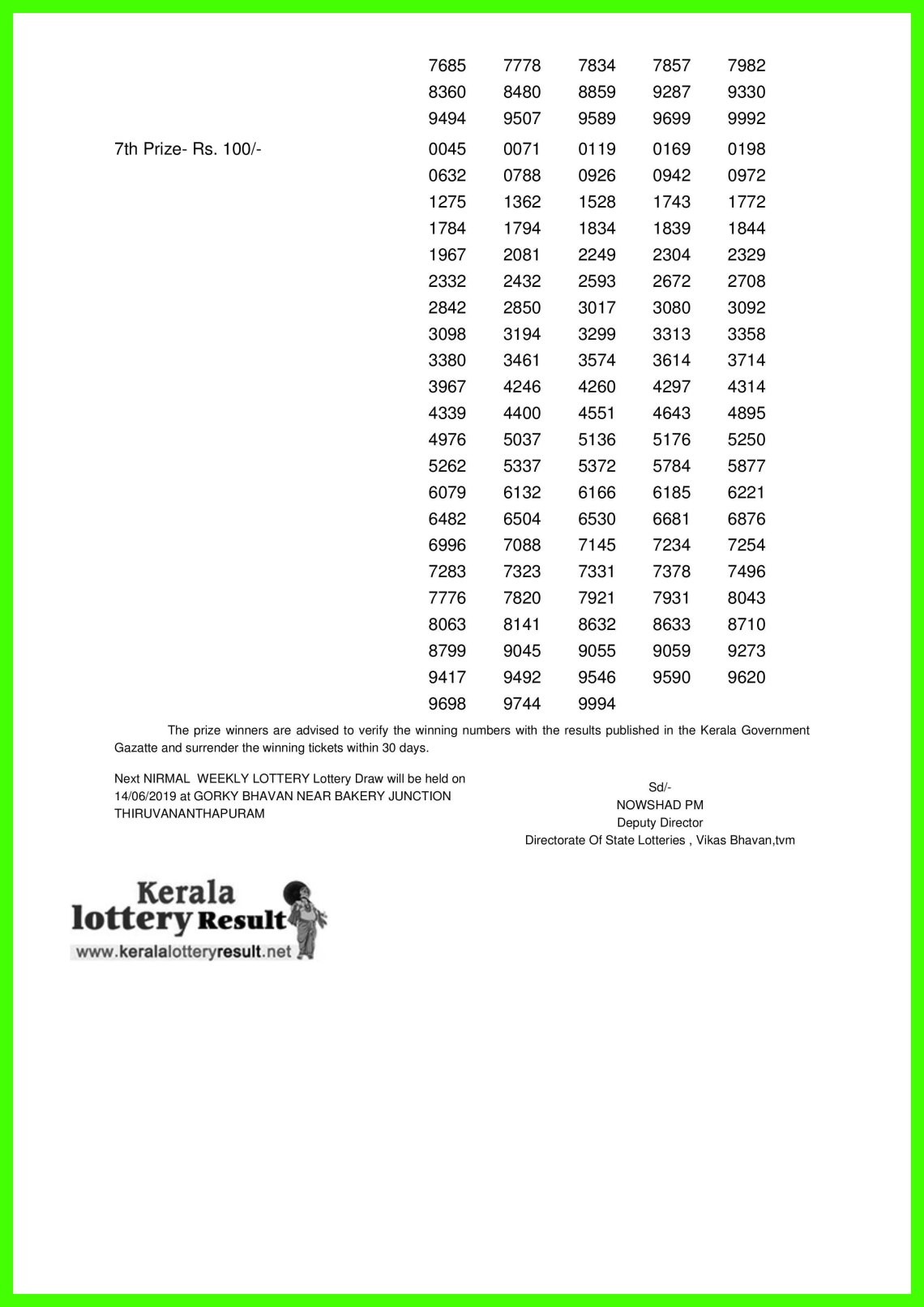 NIRMAL WEEKLY LOTTERY LOTTERY NO. NR-124th DRAW held on 07.06.2019-page-002