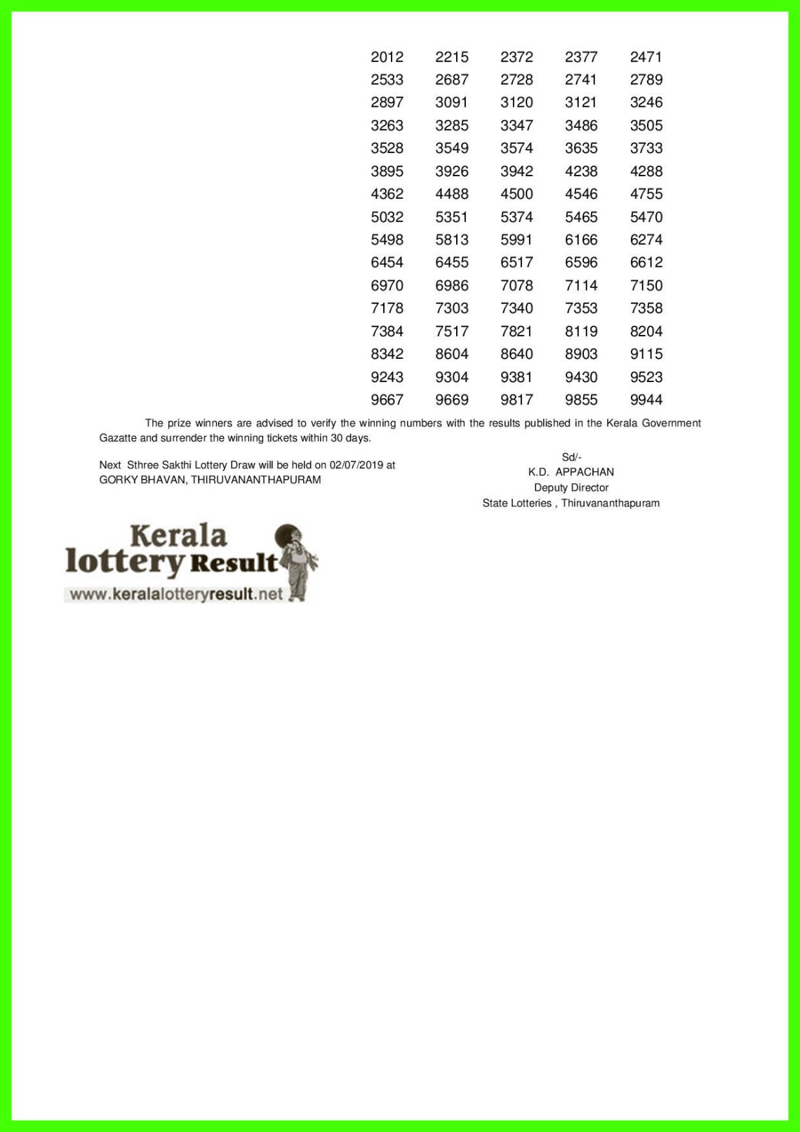 Sthree Sakthi LOTTERY NO. SS-163rd DRAW held on 25.06.2019-page-002